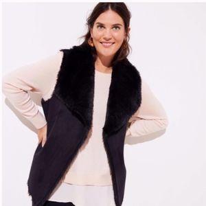 NWT LOFT Faux Shearling Vest Size 24 Black New